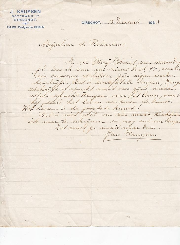 brief Jan Kruijsen